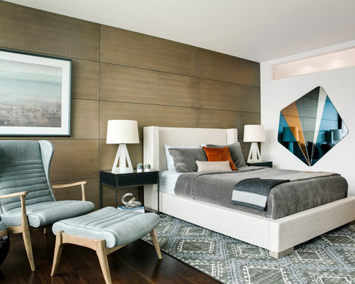 Inspiration For A Contemporary Master Dark Wood Floor Bedroom Remodel In  San Francisco With Brown Walls