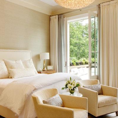 Bedroom - mid-sized transitional master medium tone wood floor bedroom idea in Chicago with beige walls