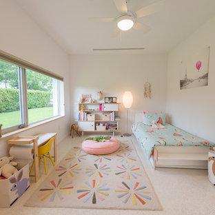 Diseño de habitación de invitados minimalista, de tamaño medio, sin chimenea, con paredes blancas, suelo de linóleo y suelo gris