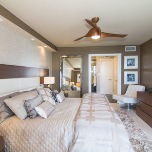 Example of a trendy bedroom design in Newark with gray walls