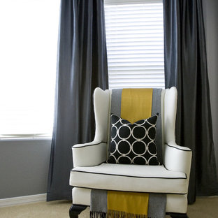 This is an example of a contemporary bedroom in Salt Lake City with grey walls and carpet.
