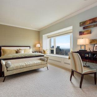 Diseño de dormitorio principal y papel pintado, clásico renovado, grande, papel pintado, con paredes verdes, moqueta, suelo amarillo y papel pintado