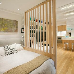 Kleines Skandinavisches Hauptschlafzimmer ohne Kamin mit weißer Wandfarbe, hellem Holzboden und braunem Boden in New York