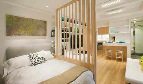 8 ettor som visar hur du snyggt kombinerar sovrum och vardagsrum