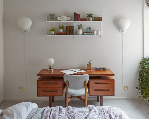 Small 1960s Master Carpeted Bedroom Idea In London With White Walls