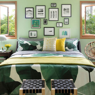 Eclectic carpeted and gray floor bedroom photo in Minneapolis with green walls