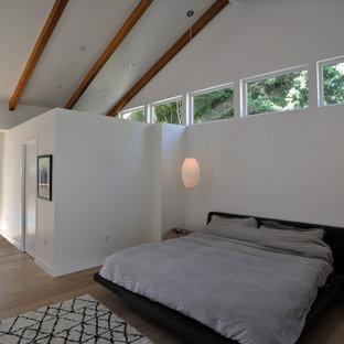 Ejemplo de dormitorio principal, vintage, de tamaño medio, con paredes blancas, suelo de madera clara, chimenea lineal y marco de chimenea de baldosas y/o azulejos