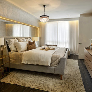 Design ideas for a large transitional master bedroom in Miami with porcelain floors and grey walls.
