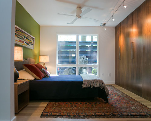 Trendy Beige Floor Bedroom Photo In Indianapolis With Green Walls