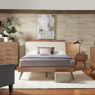 Small 1960s guest brick floor bedroom photo in Chicago with beige walls