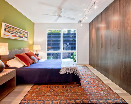 Example Of A Mid Sized Midcentury Modern Master Light Wood Floor And Beige  Floor Bedroom