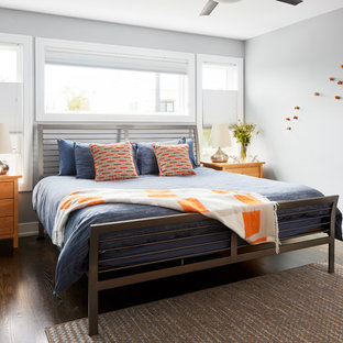 Inspiration for a mid-sized transitional master brown floor and dark wood floor bedroom remodel in Chicago with gray walls