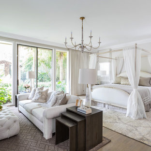 Beach style medium tone wood floor bedroom photo in Houston with white walls and no fireplace
