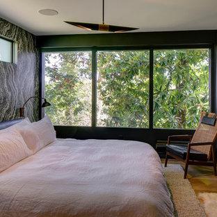 Diseño de habitación de invitados actual, pequeña, con paredes negras