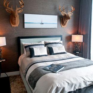 Bedroom - contemporary dark wood floor bedroom idea in Atlanta with gray walls and no fireplace