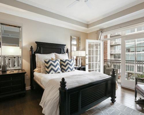 Elegant Master Dark Wood Floor And Brown Floor Bedroom Photo In Atlanta  With Beige Walls
