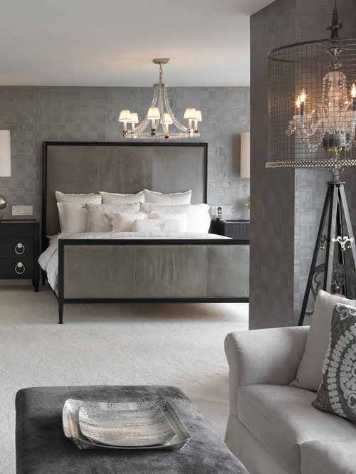 Example Of A Transitional Carpeted Bedroom Design In New York With Gray  Walls