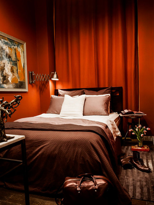 Red Wall Bedroom Ideas Part - 38: Trendy Bedroom Photo In New York With Red Walls