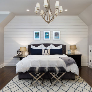 Large transitional master dark wood floor and brown floor bedroom photo in Atlanta with gray walls and no fireplace