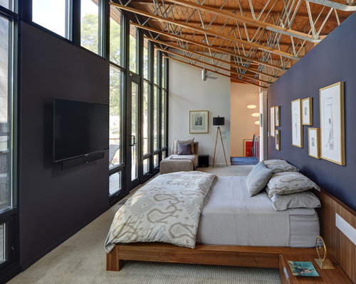 Large Trendy Loft Style Carpeted And Gray Floor Bedroom Photo In Milwaukee With Blue Walls
