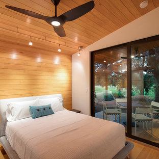 Réalisation d'une petit chambre parentale design avec un mur multicolore, un sol en bois brun, aucune cheminée et un sol multicolore.