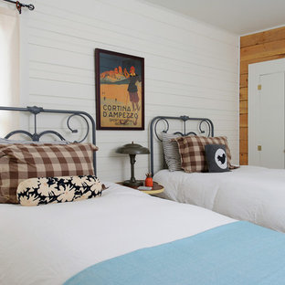 Bedroom - traditional guest bedroom idea in Other with white walls