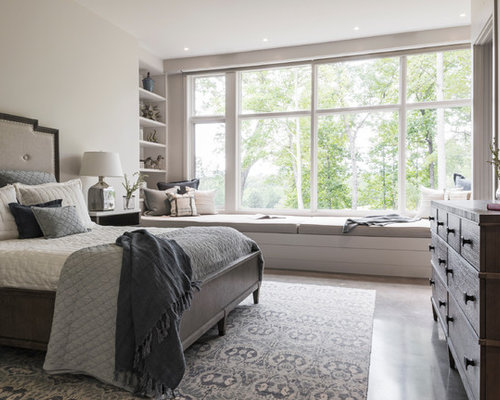 Inspiration For A Mid Sized Farmhouse Master Concrete Floor And Gray Bedroom Remodel In