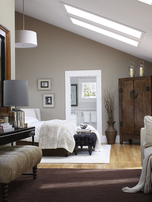 Inspiration For A Transitional Light Wood Floor Bedroom Remodel In San  Francisco With Gray Walls