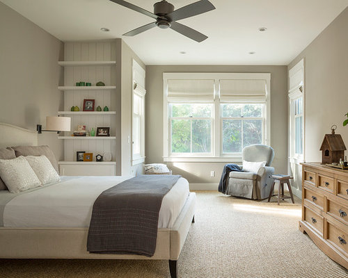Farmhouse carpeted bedroom idea in San Francisco with gray walls