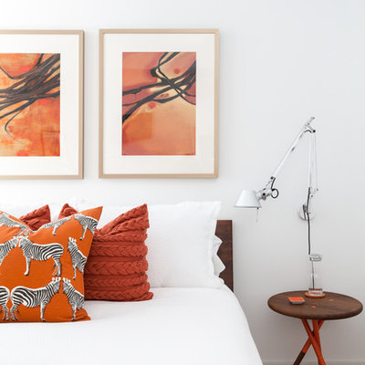 Inspiration for a small contemporary master carpeted bedroom remodel in San Francisco with white walls