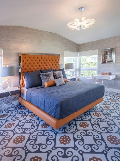 bedroom ideas blue. 1960s multicolored floor bedroom photo in Miami with beige walls Top 20 Blue Bedroom Ideas  Remodeling Photos Houzz