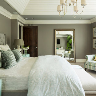Example of a transitional master carpeted and white floor bedroom design in Minneapolis with brown walls