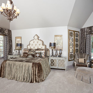 Bedroom - huge mediterranean master carpeted and beige floor bedroom idea in Dallas with gray walls and no fireplace