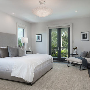 Inspiration for a mid-sized contemporary master ceramic floor and gray floor bedroom remodel in Other with gray walls