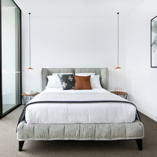 Inspiration for a mid-sized contemporary master bedroom in Sydney with white walls and carpet.