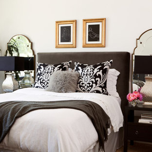 Example of a trendy bedroom design in San Francisco with white walls and no fireplace