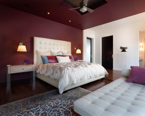 Wonderful Example Of A Minimalist Bedroom Design In Orlando With Purple Walls