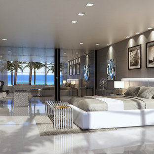Bedroom - large contemporary porcelain floor bedroom idea in Miami with white walls