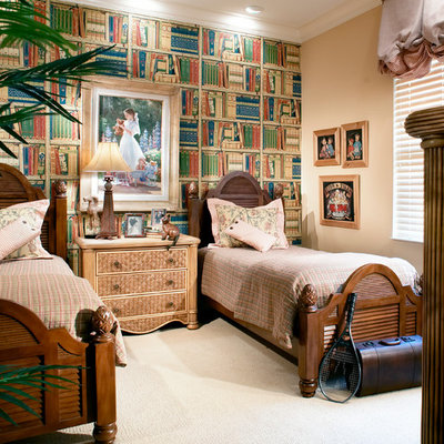 Elegant guest carpeted bedroom photo in Miami with multicolored walls