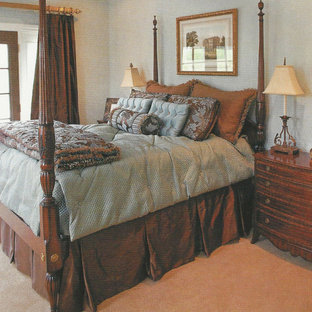 Example Of A Mid Sized Classic Master Carpeted And Brown Floor Bedroom  Design In Nashville