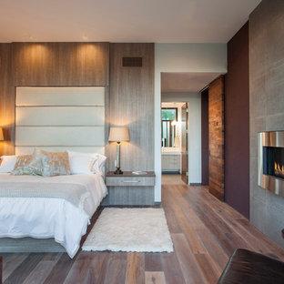 Bild på ett mellanstort funkis huvudsovrum, med grå väggar, ljust trägolv, en standard öppen spis och en spiselkrans i trä