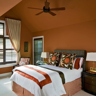 Inspiration For A Timeless Carpeted Bedroom Remodel In New York With Orange Walls
