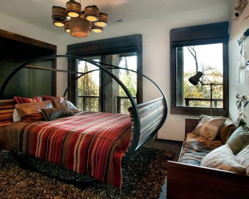 Mountain style master dark wood floor bedroom photo in Charlotte. Eco friendly Bedroom   Houzz