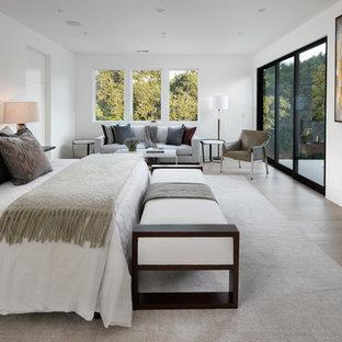 サンフランシスコのコンテンポラリースタイルのおしゃれな主寝室 (白い壁、濃色無垢フローリング、横長型暖炉、茶色い床)