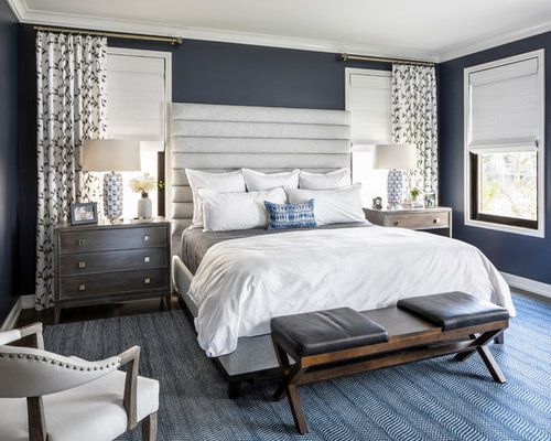 Camera da letto classica con pareti blu - Foto e Idee per Arredare