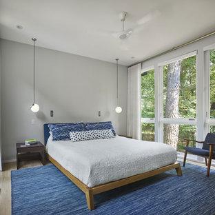 Foto de dormitorio principal, minimalista, pequeño, sin chimenea, con paredes grises, suelo de madera clara y suelo amarillo