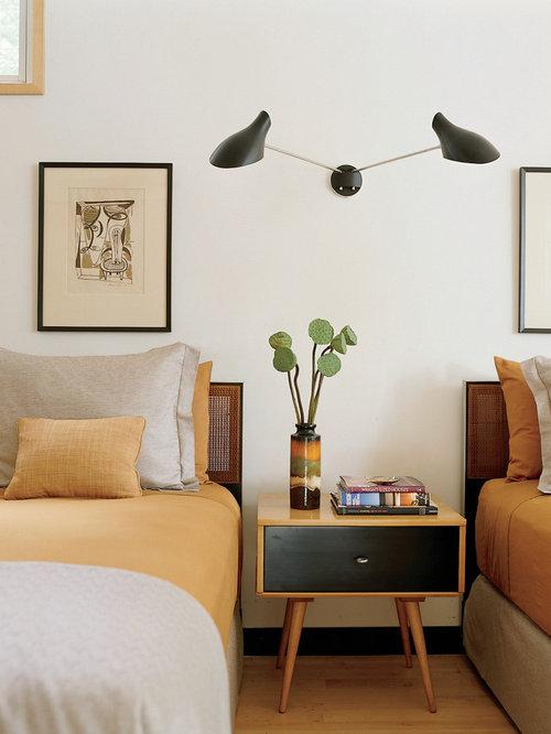 modern bedroom lighting design. Minimalist Bedroom Photo In New York With White Walls Modern Lighting Design