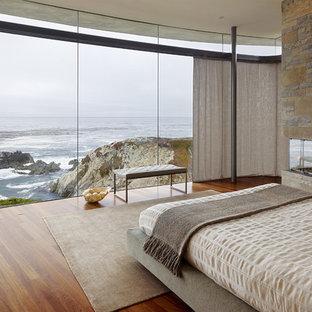 Foto di una camera da letto contemporanea con pavimento in legno massello medio, cornice del camino in pietra e camino ad angolo