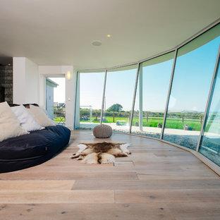 Cette image montre une chambre parentale design avec un mur blanc, un sol en bois clair et un poêle à bois.