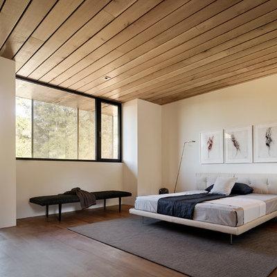 Minimalist medium tone wood floor and brown floor bedroom photo in Phoenix with white walls